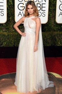 Best dressed at the Golden Globes 2016 Lily James in Marchesa